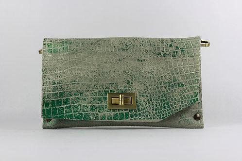 CLUTCH 8 - Grey Croc Stamp Met. Green