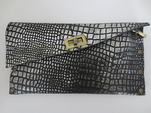CLUTCH 1 - Black Croc Stamp Silver (B)