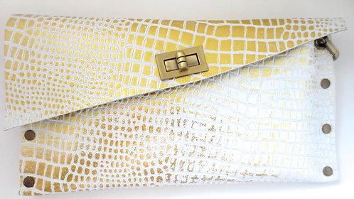 CLUTCH 1 - White Croc Stamp Gold
