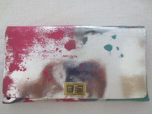 CLUTCH 2 - Pink/Turquoise Stamp Silver