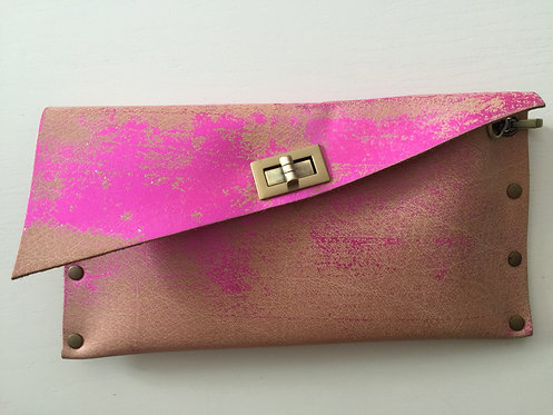 CLUTCH 1 - Nude Stamp Metallic Pink