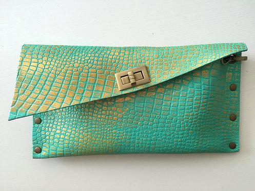 CLUTCH 1 - Tq Croc Stamp Gold