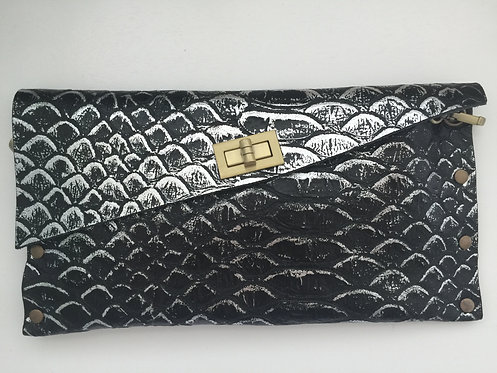 CLUTCH 1 - Silver Snake Stamp Black