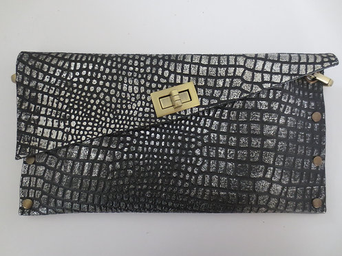 CLUTCH 1 - Black Croc Stamp Silver (A)