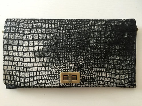 CLUTCH 2 - Black Croc Stamp Silver