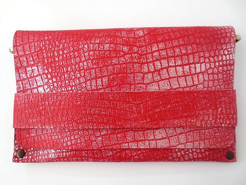 CLUTCH 5 - Red Croc Stamp Silver