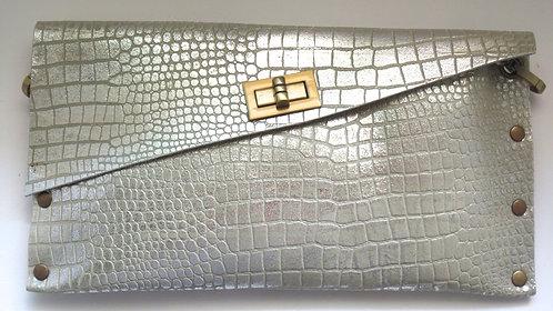 CLUTCH 1 - Grey Croc Stamp Silver
