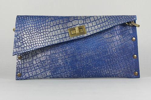 CLUTCH 1 - Blue Croc Stamp Silver