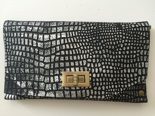 CLUTCH 8 - Silver Croc Stamp Black