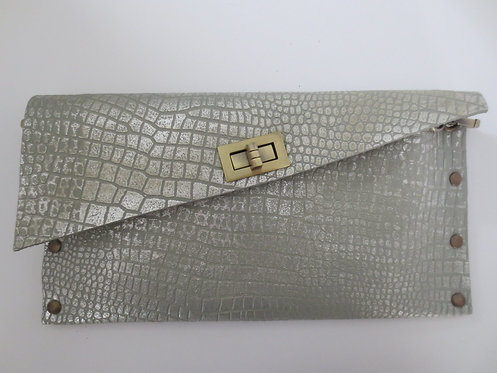 CLUTCH 1 - Grey Croc Stamp Silver