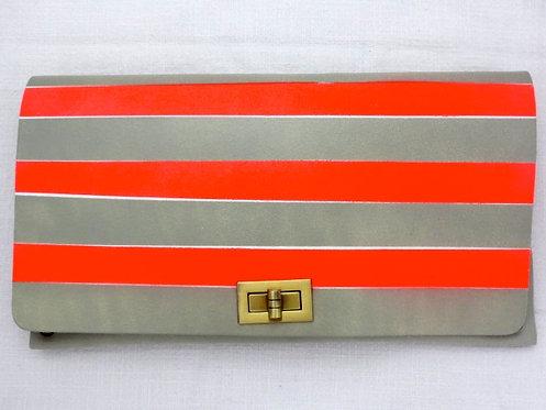 CLUTCH 2 - Grey Neon Coral Stripes