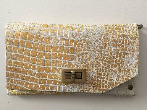 CLUTCH 8 - White Croc Stamp Gold