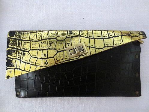 CLUTCH 1 -  Black Alligator Stamp Gold (c)
