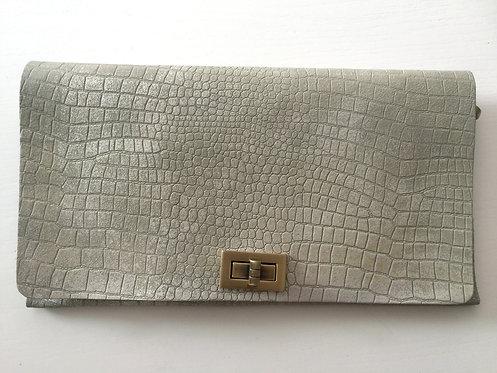 CLUTCH 2 - Grey Croc Stamp Silver