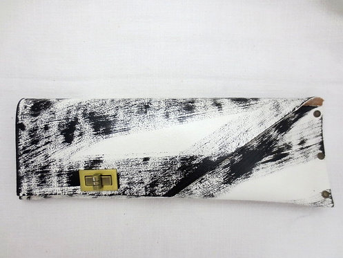 LONG CLUTCH - White Hand Paint