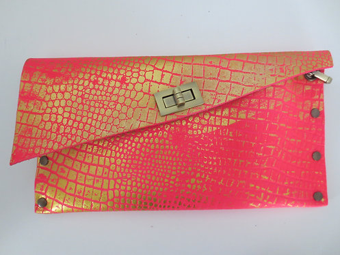 CLUTCH 1 - Pink Croc Stamp Gold