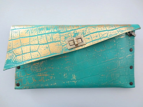 CLUTCH 1 - Turquoise Croc Stamp Gold
