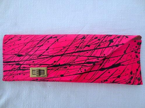 LONG CLUTCH - Neon Pink Black Splash