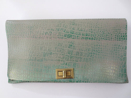 CLUTCH 2 - Grey Croc Stamp Metallic Green