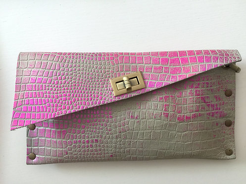 CLUTCH 1 - Grey Croc Stamp Metallic Pink