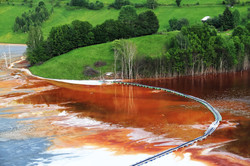 Nature pollution of a copper mine exploi