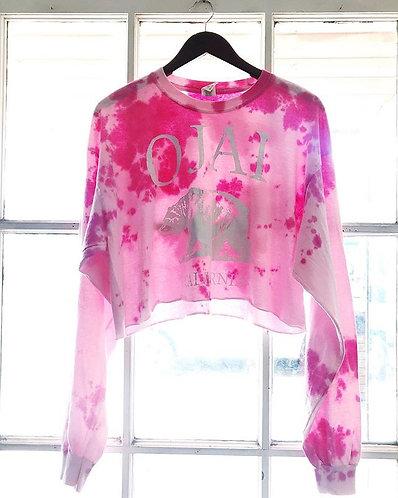 Pink Ojai Calif Bear Crop Tie Dye  T Shirt