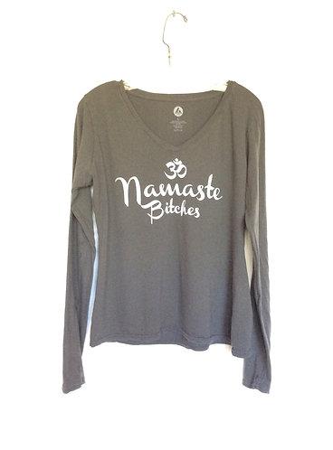 Namaste Bitches Long Sleeve Cotton V Neck T Shirt