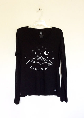 Camp Ojai Long Sleeve Cotton V Neck T Shirt