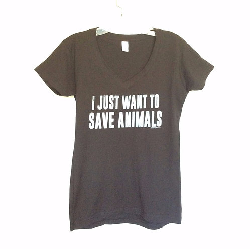 I Just Want To Save Animals V Neck Tee Shirt