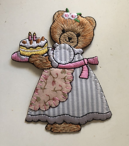 Birthday Bear Iron on Patch