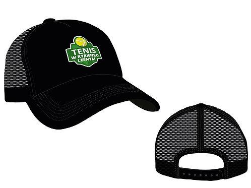 Czarna czapka z daszkiem i siatką