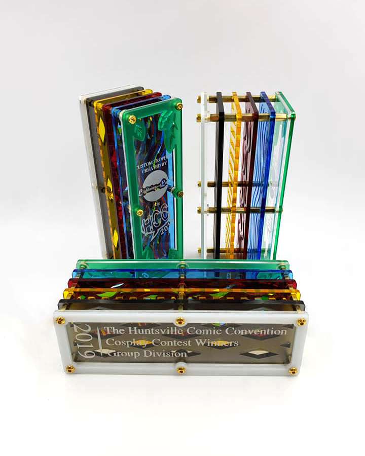 Trophies for the Huntsville Comic Convention 2019