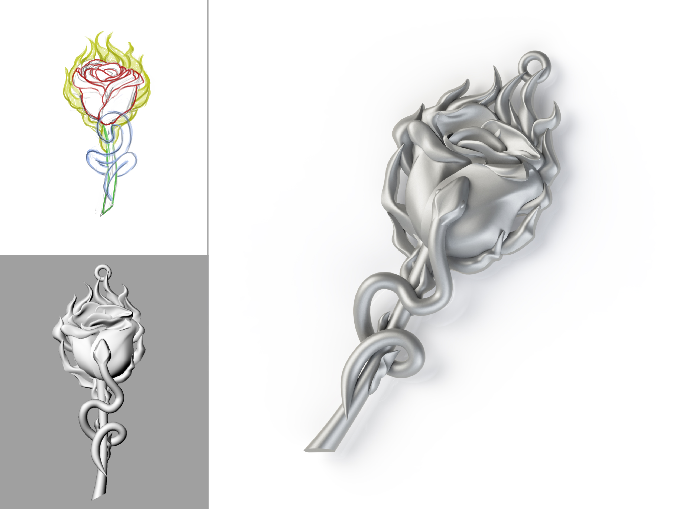 Silver Rose Necklace Design Sculpt