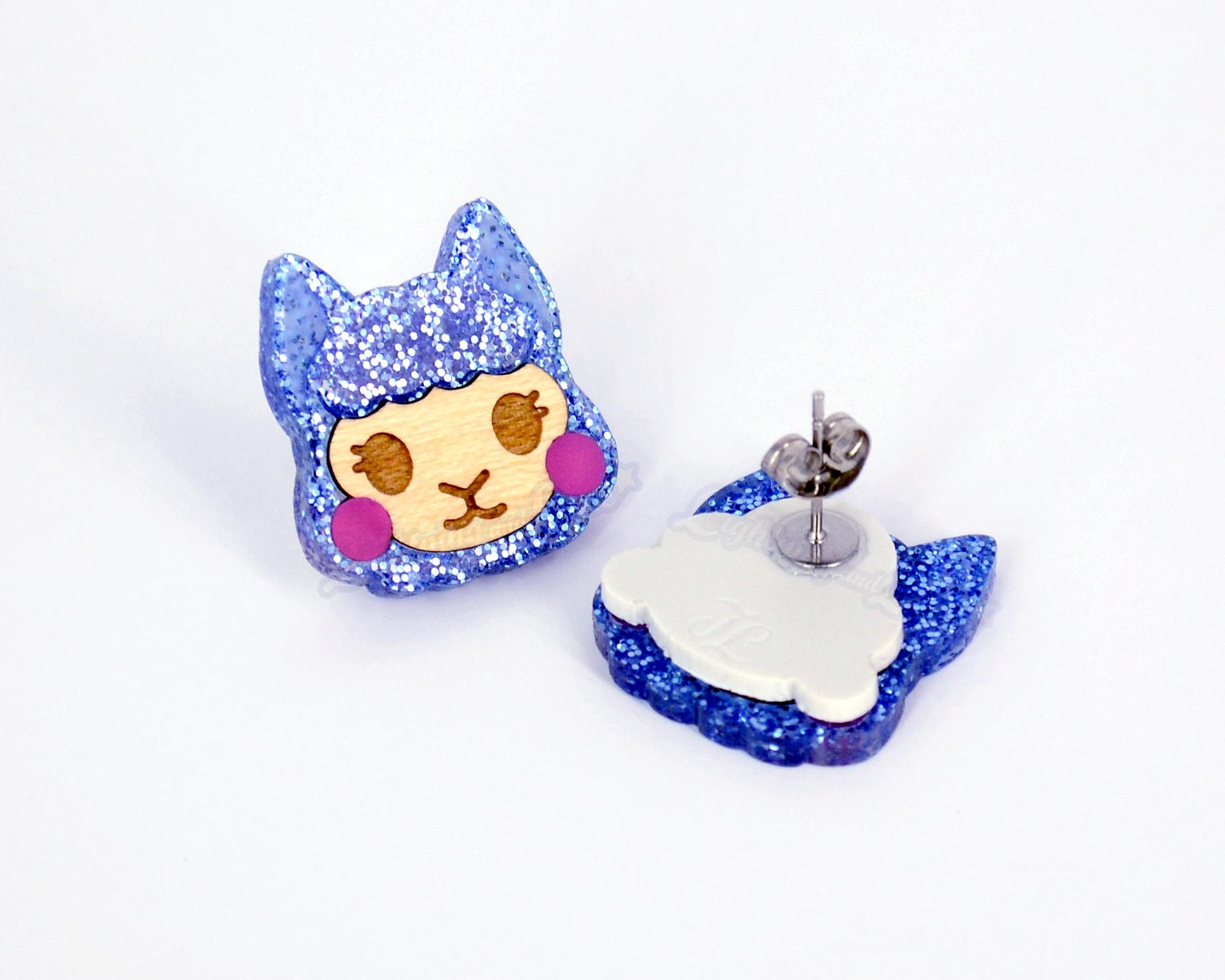 Glitter Blue Alpaca Earrings