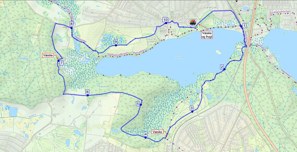 Kvartmaraton-ruten til Furesø Løbefest