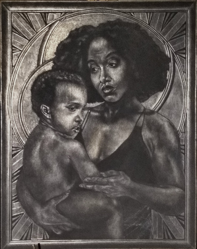 Belle Vierge Noire Et Enfant