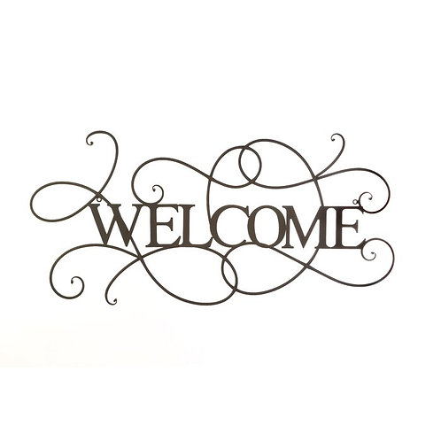 Scrolled Welcome Metal Wall Decor