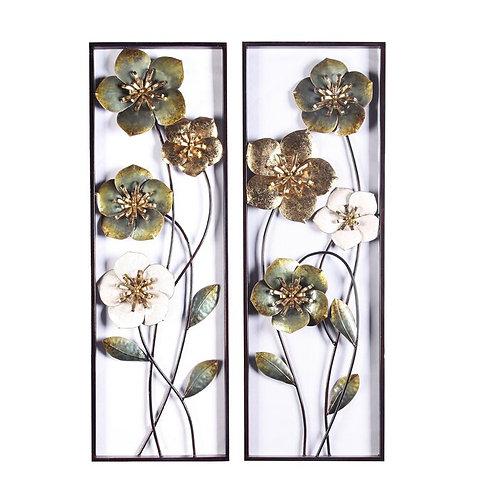 2 Piece Metal Flowers Wall Décor Set