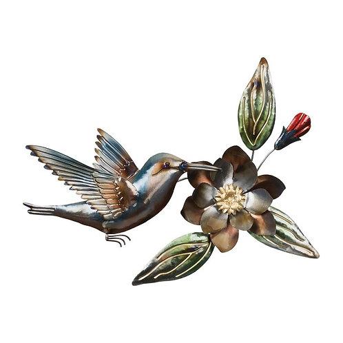 Metal Hummingbird At Flower Wall Décor