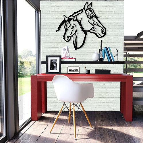 Metal Horse Pair Wall Decor