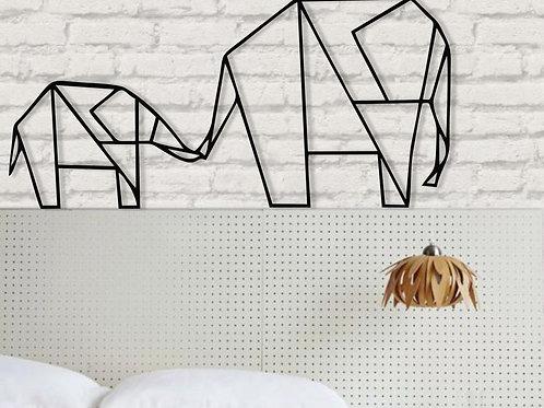 Elephant Family Silhouette Metal Wall Decor