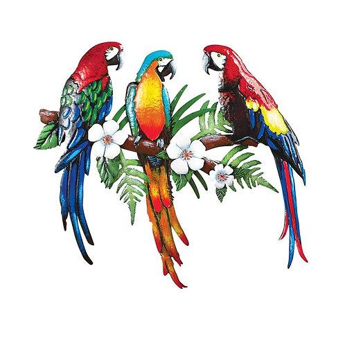 Colorful Parrots Metal Wall Décor