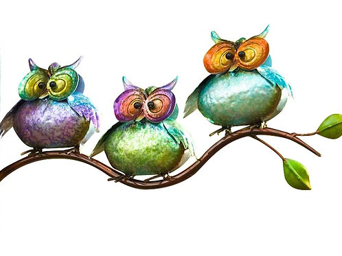 Metal Owls on Branch Wall Decor