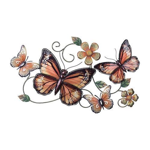 Butterflies And Flowers Metal Wall Décor