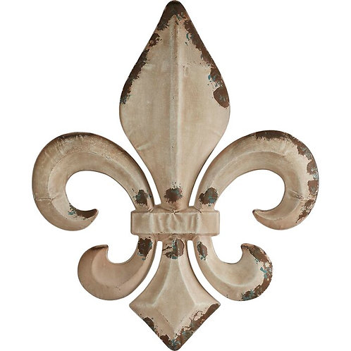 Distressed Fleur-De-Lis Metal Wall Décor