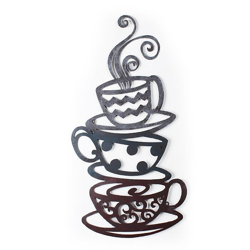Decorative Stacked Coffee Cups Iron Wall Decor