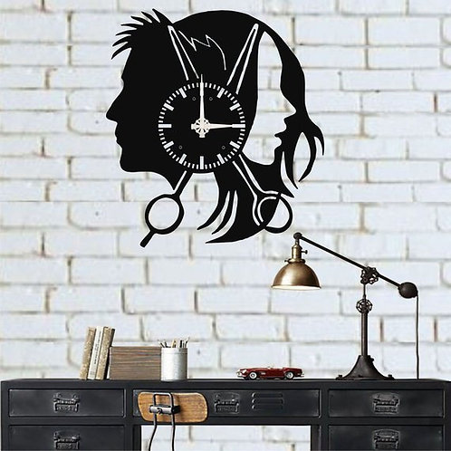 Hairdresser Metal Wall Clock Decor