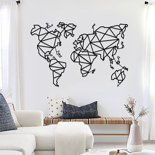 World Map Metal Wall Decor