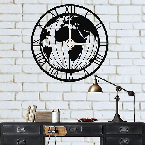 Metal World Map Wall Clock