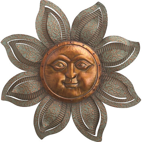 Metal Textured Sun Face Wall Décor